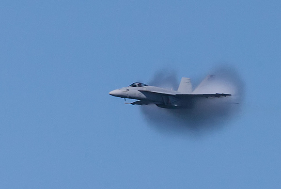 Jet at the moment of breaking the sound barrier. Fleet Week.
